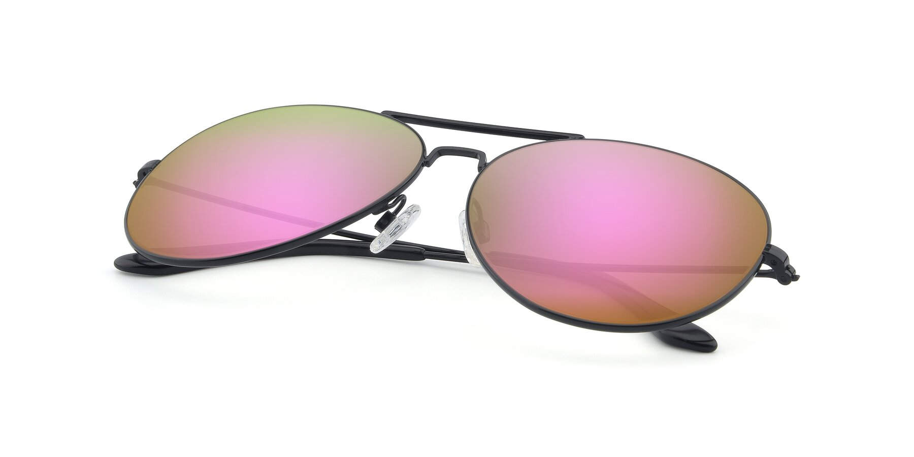 View of Paradise in Black with Pink Mirrored Lenses