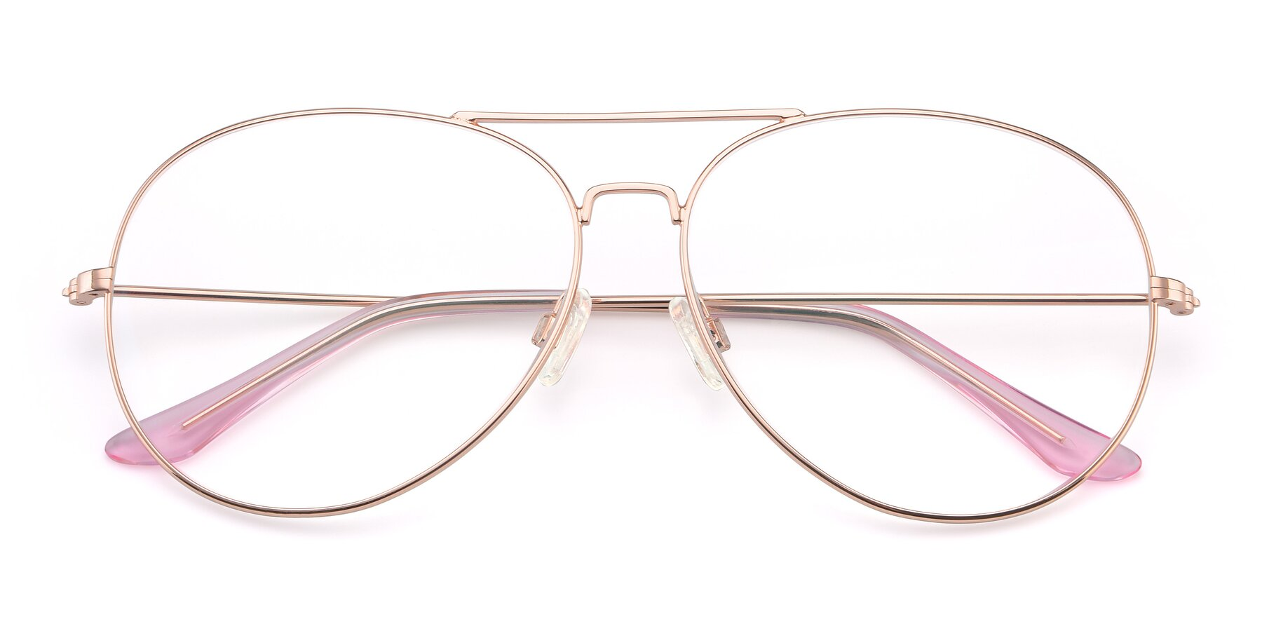 Folded Front of Paradise in Rose Gold with Clear Eyeglass Lenses