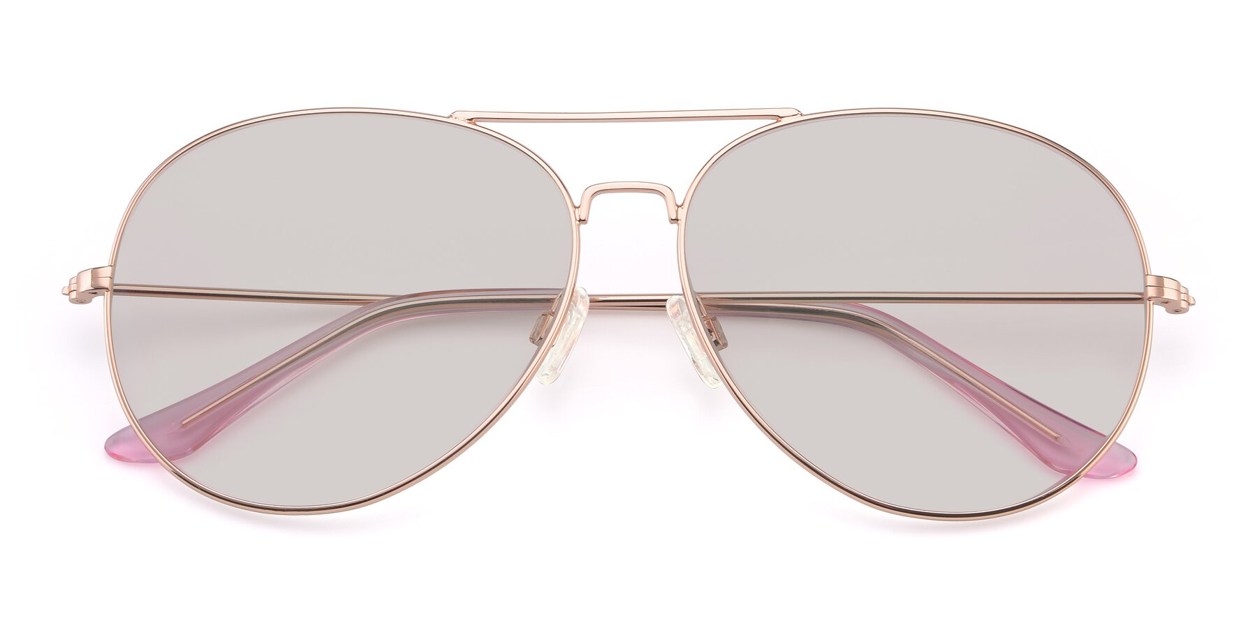 Folded Front of Paradise in Rose Glod with Light Brown Tinted Lenses