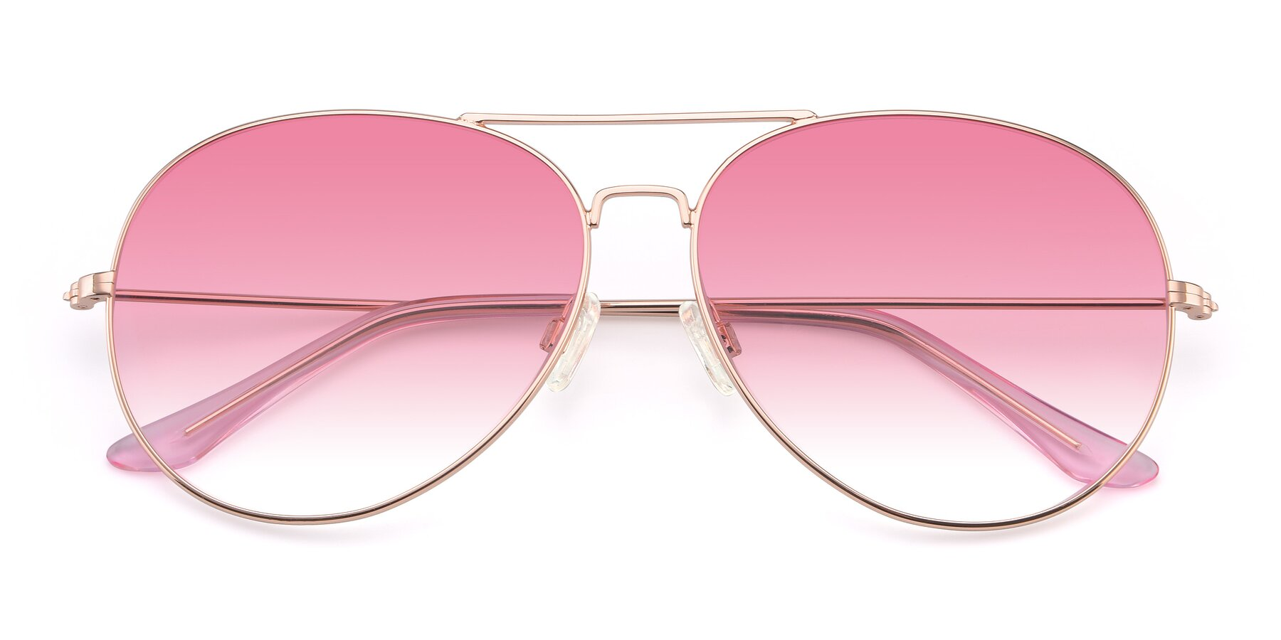 Folded Front of Paradise in Rose Glod with Pink Gradient Lenses