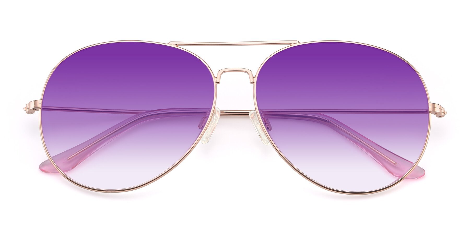 Folded Front of Paradise in Rose Glod with Purple Gradient Lenses