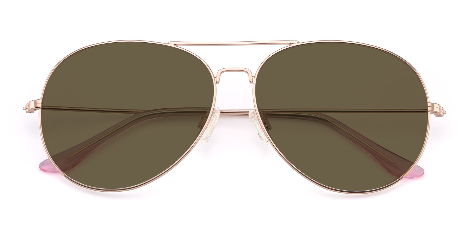 Folded Front of Paradise in Rose Glod with Brown Polarized Lenses