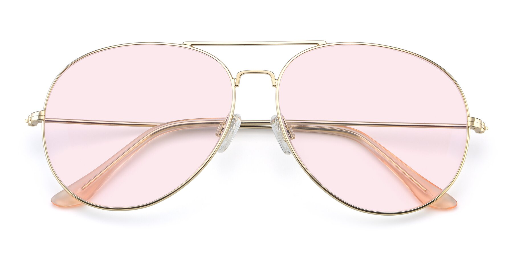 Folded Front of Paradise in Gold with Light Pink Tinted Lenses