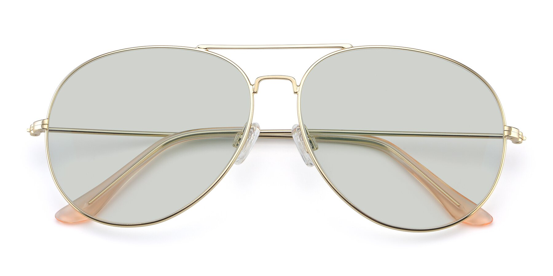 Folded Front of Paradise in Gold with Light Green Tinted Lenses