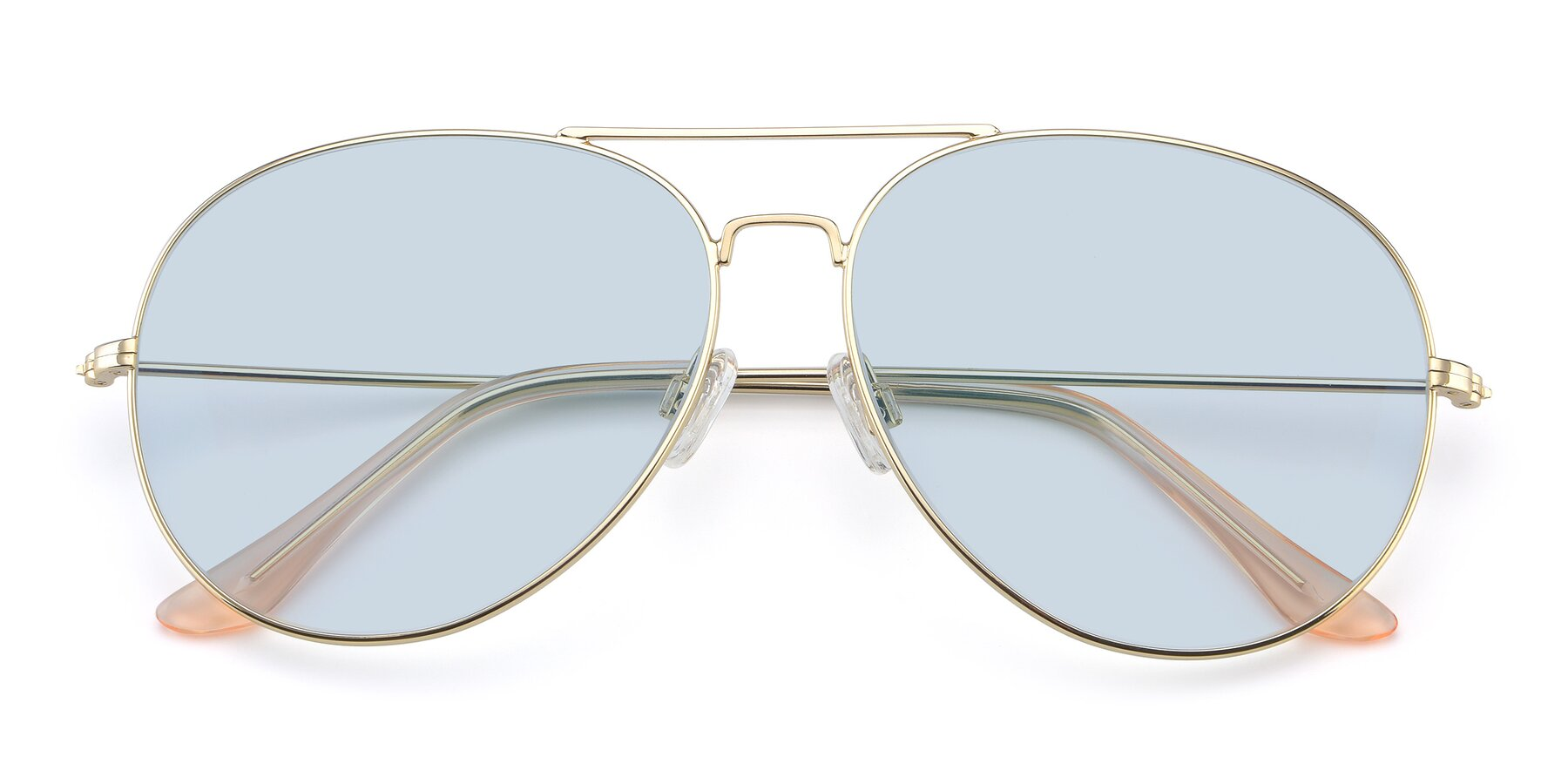 Folded Front of Paradise in Gold with Light Blue Tinted Lenses