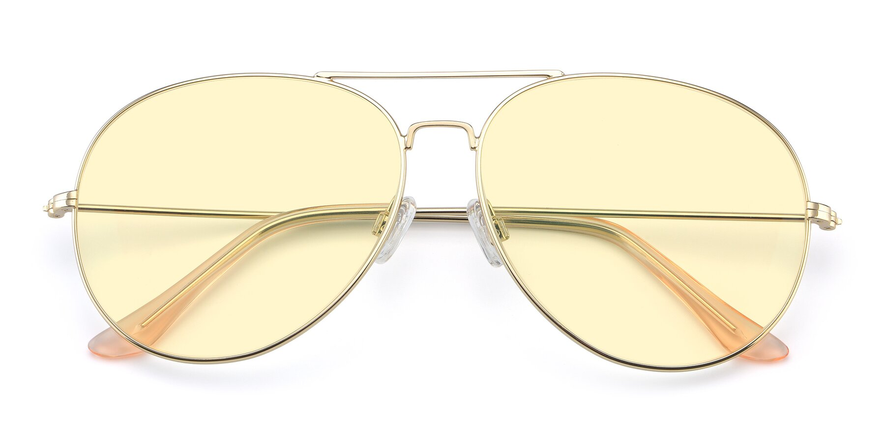 Folded Front of Paradise in Gold with Light Yellow Tinted Lenses