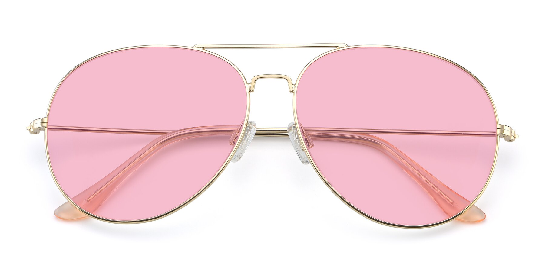 Folded Front of Paradise in Gold with Medium Pink Tinted Lenses