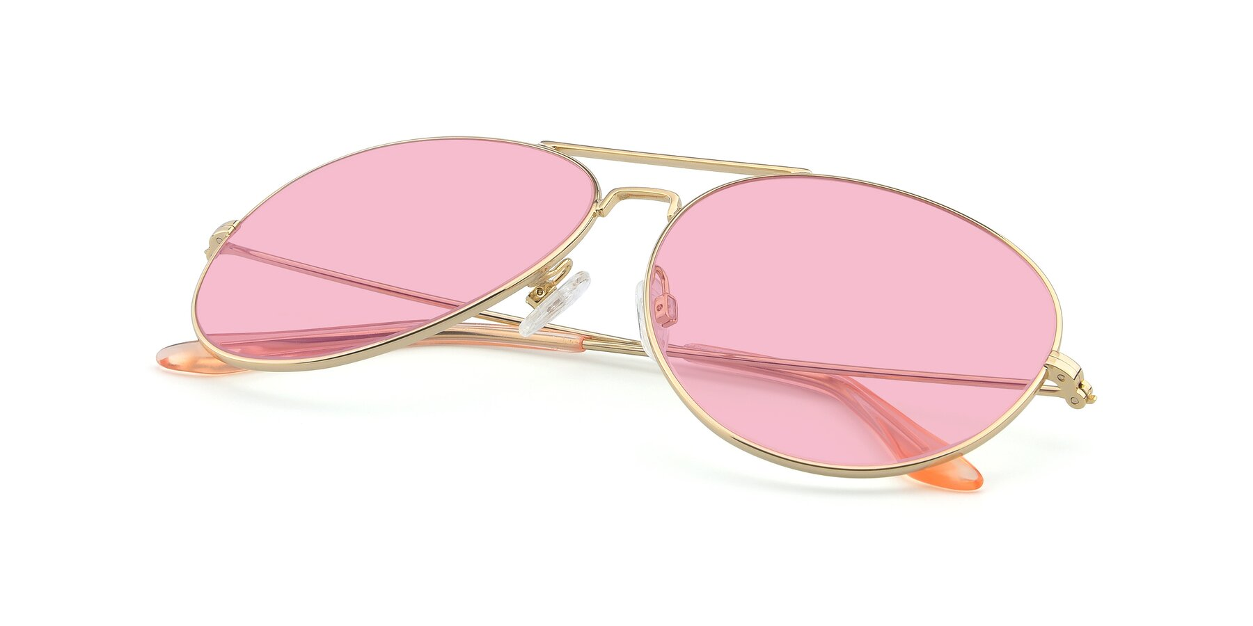 View of Paradise in Gold with Medium Pink Tinted Lenses