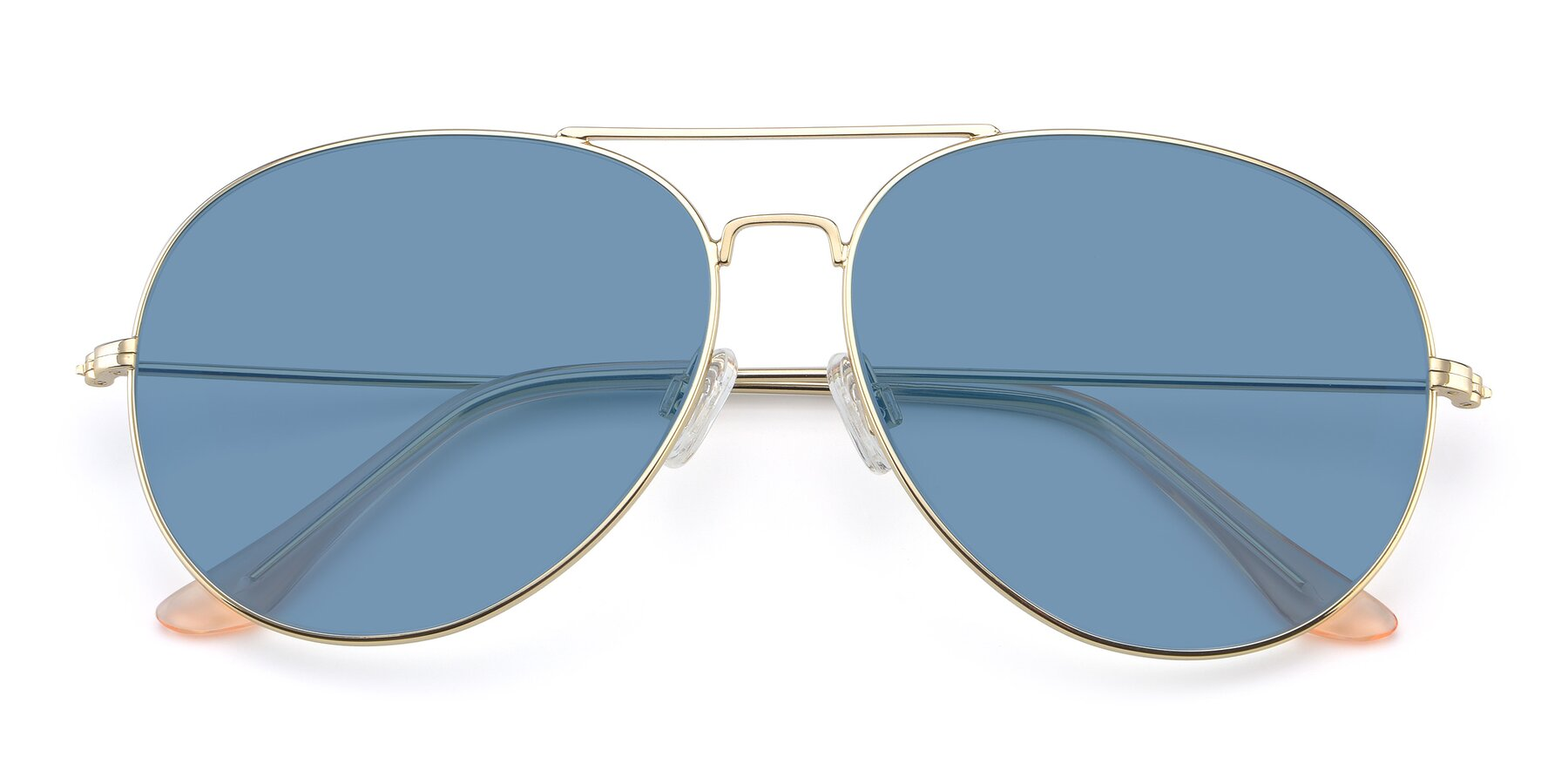 Folded Front of Paradise in Gold with Medium Blue Tinted Lenses