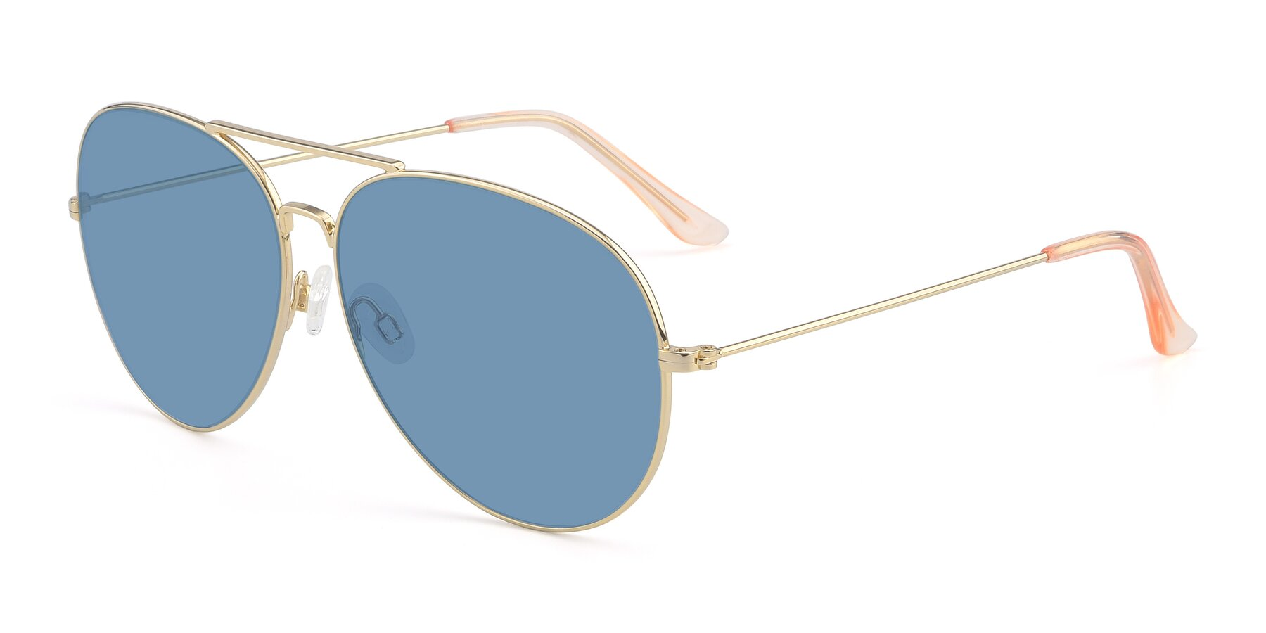 Angle of Paradise in Gold with Medium Blue Tinted Lenses