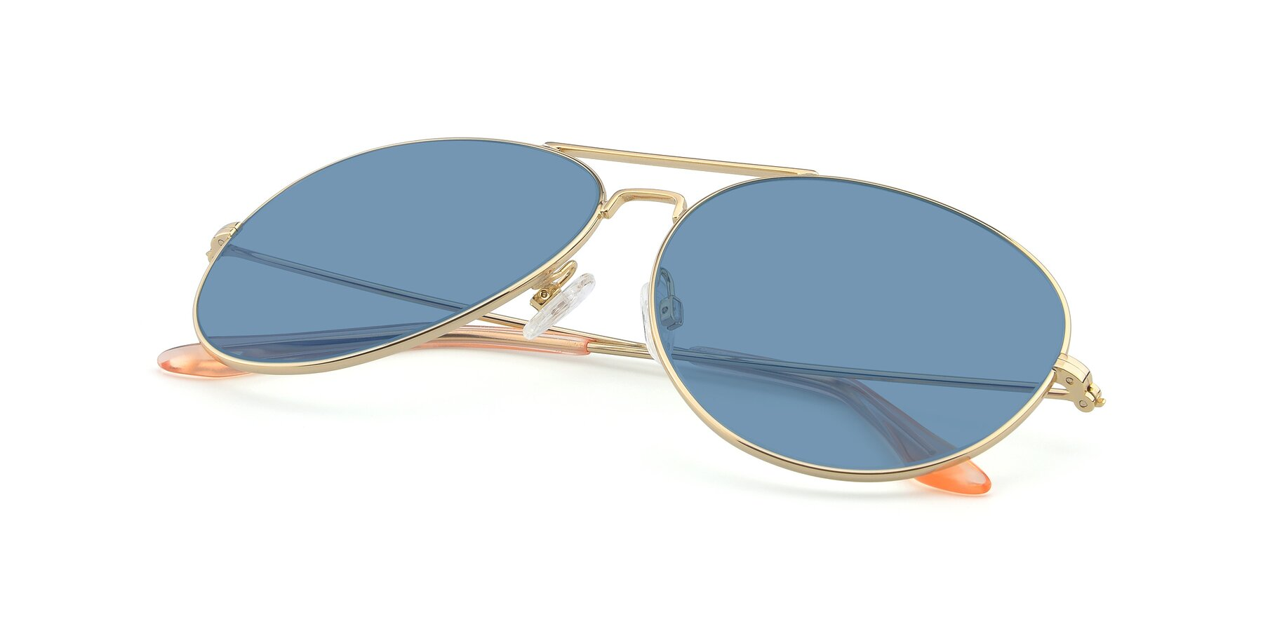 View of Paradise in Gold with Medium Blue Tinted Lenses