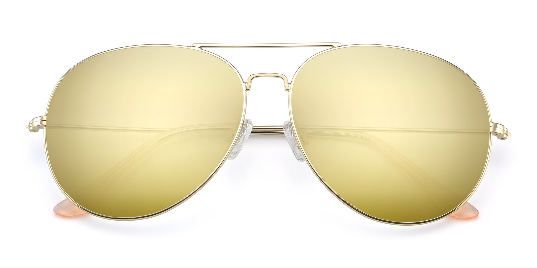 Folded Front of Paradise in Gold with Gold Mirrored Lenses
