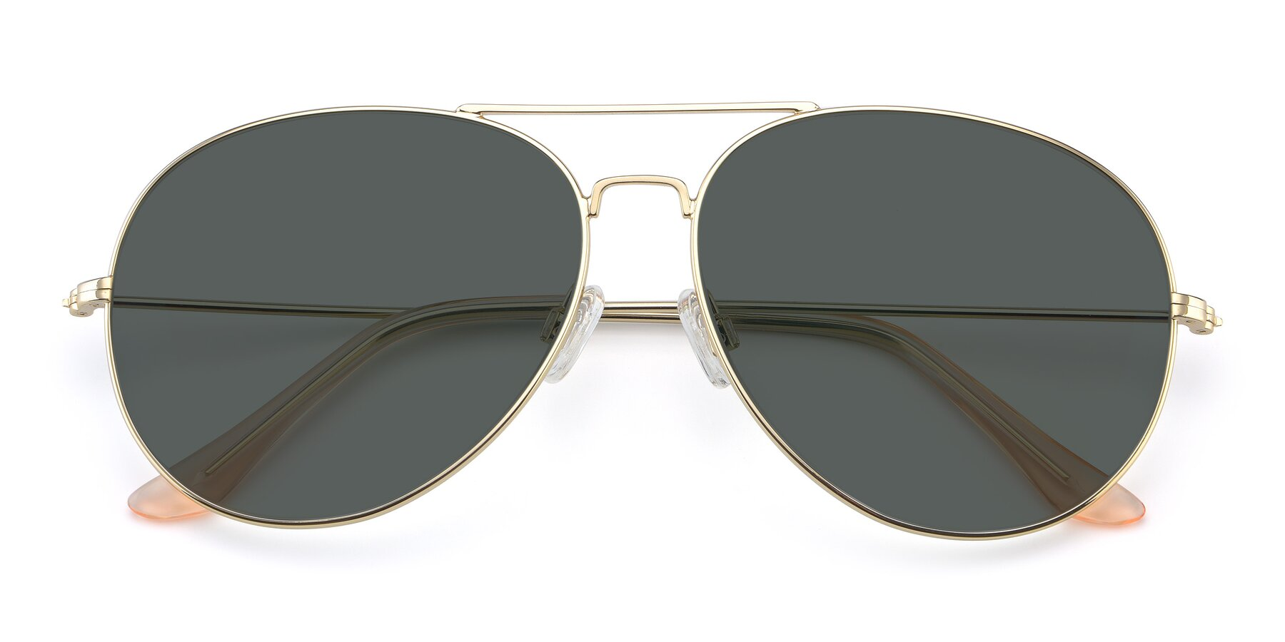 Folded Front of Paradise in Gold with Gray Polarized Lenses