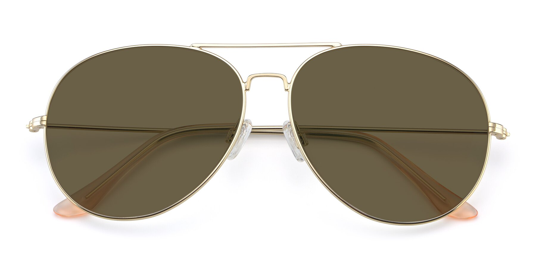 Folded Front of Paradise in Gold with Brown Polarized Lenses
