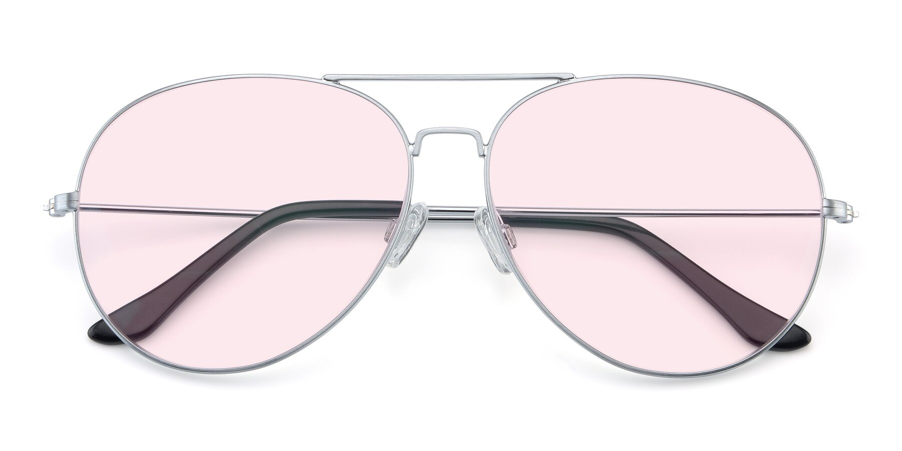 Folded Front of Paradise in Silver with Light Pink Tinted Lenses