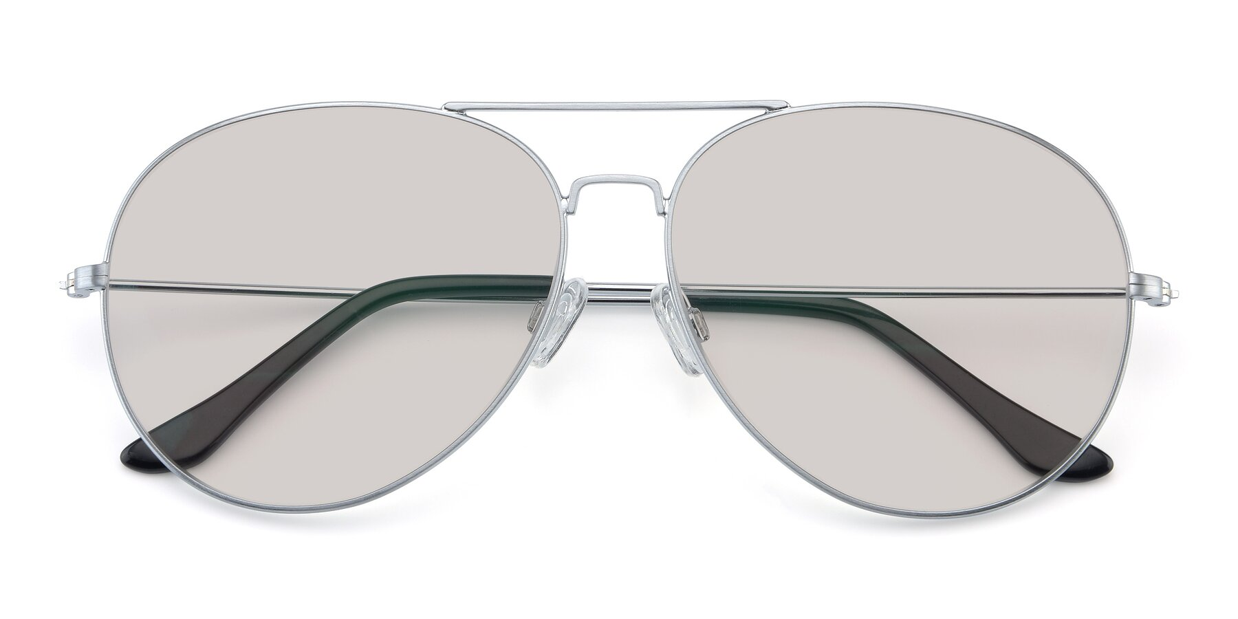 Folded Front of Paradise in Silver with Light Brown Tinted Lenses