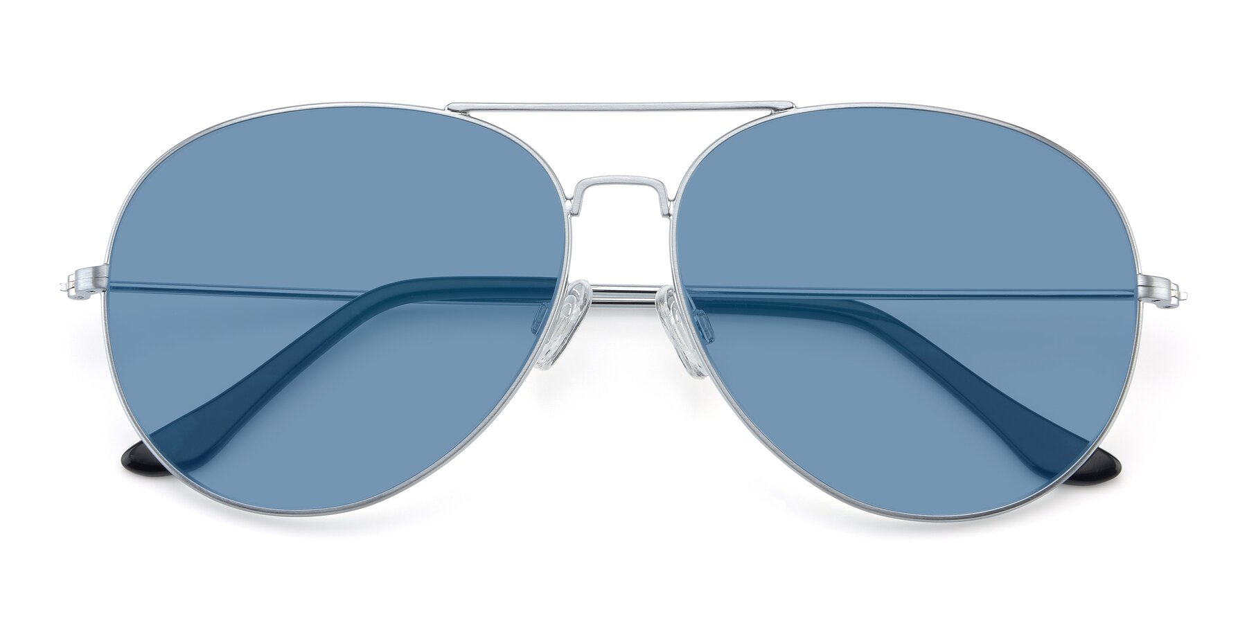 Folded Front of Paradise in Silver with Medium Blue Tinted Lenses