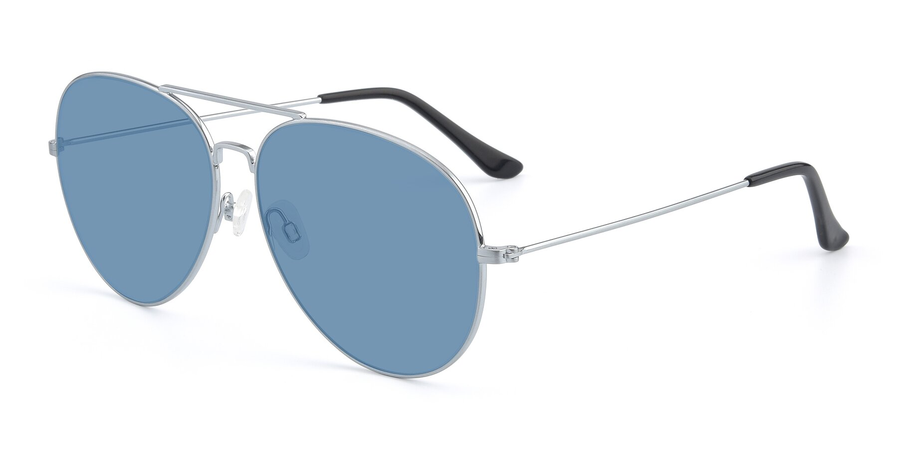 Angle of Paradise in Silver with Medium Blue Tinted Lenses