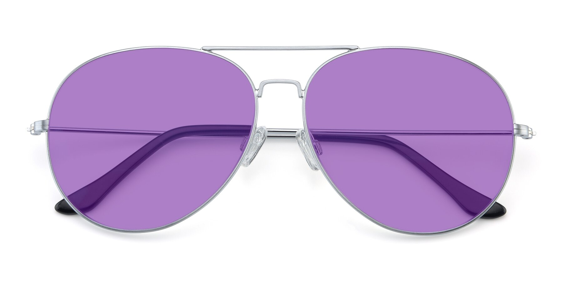Folded Front of Paradise in Silver with Medium Purple Tinted Lenses