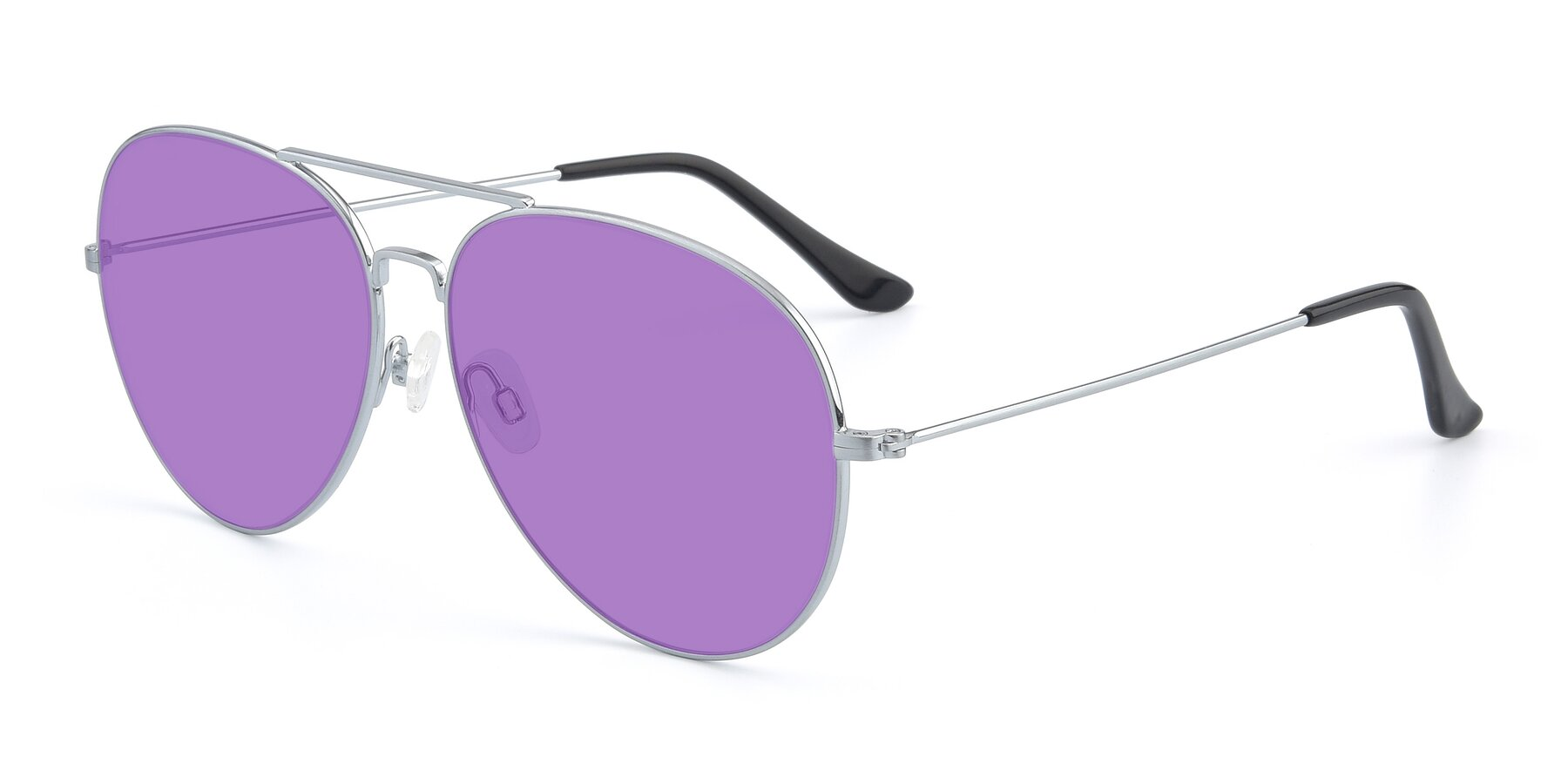 Angle of Paradise in Silver with Medium Purple Tinted Lenses
