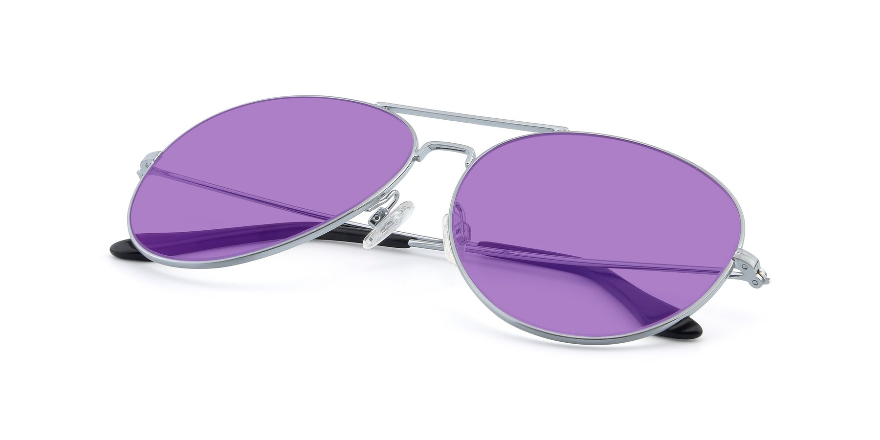 View of Paradise in Silver with Medium Purple Tinted Lenses