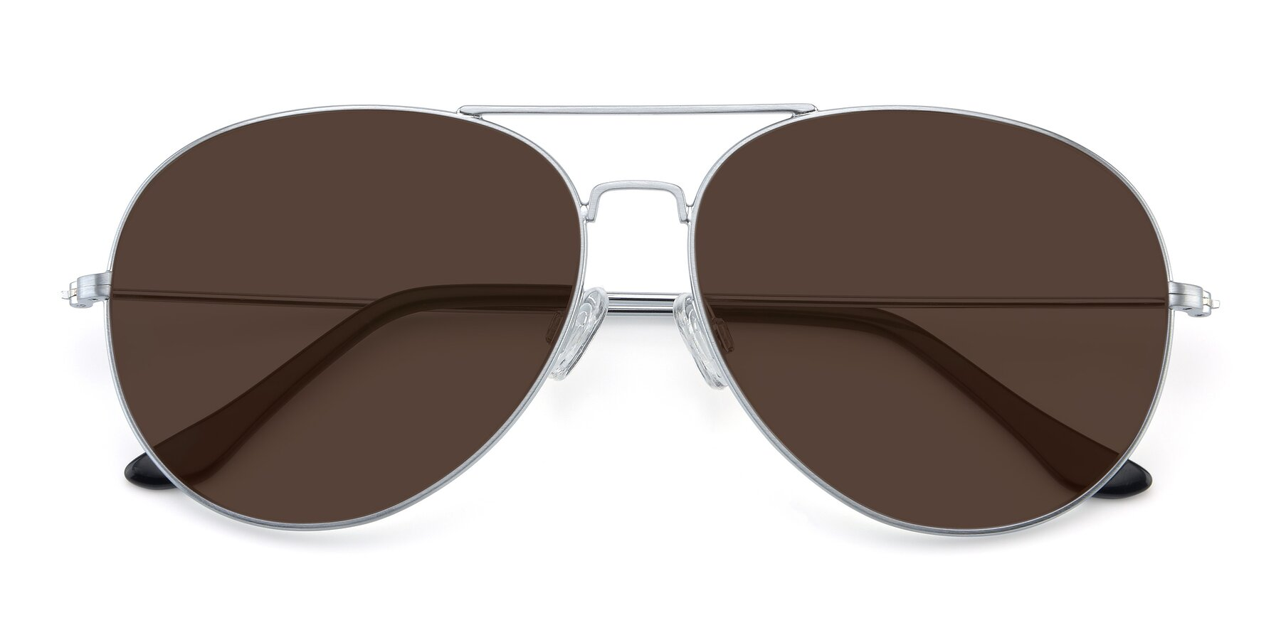 Folded Front of Paradise in Silver with Brown Tinted Lenses