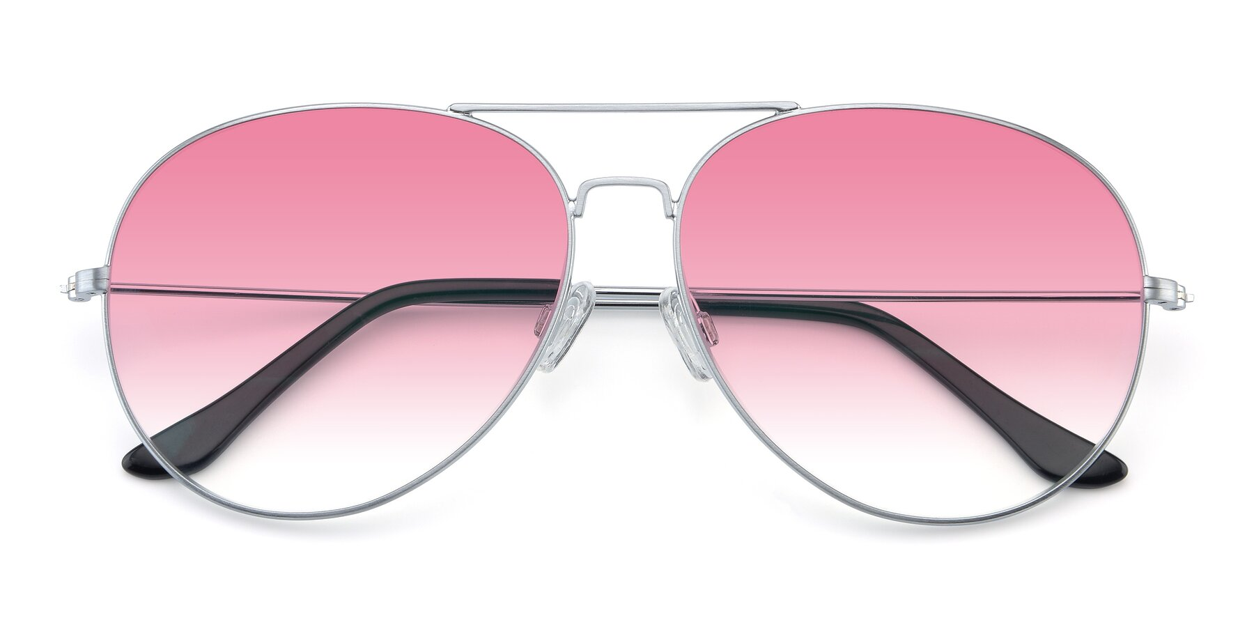 Folded Front of Paradise in Silver with Pink Gradient Lenses