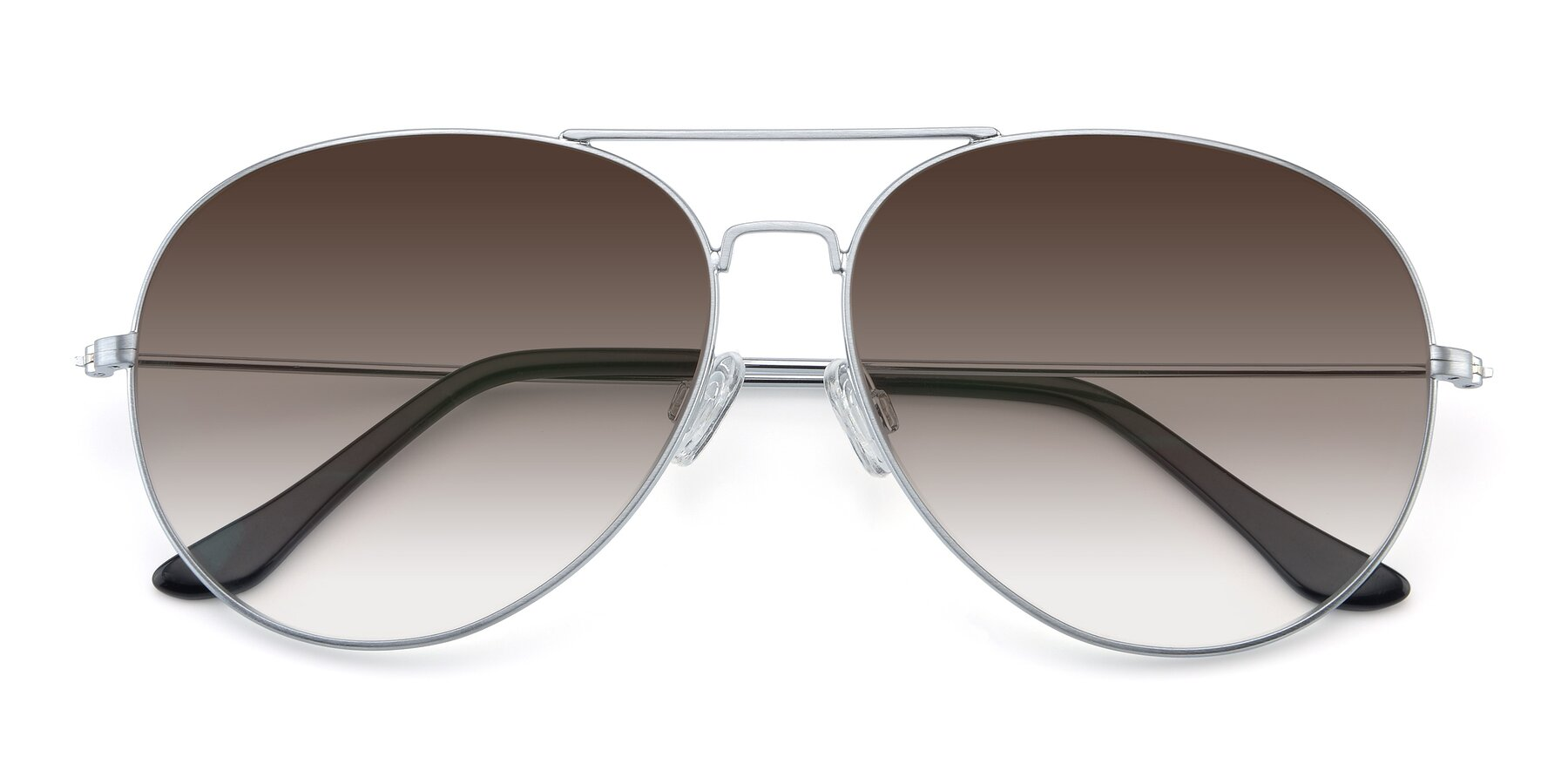 Folded Front of Paradise in Silver with Brown Gradient Lenses