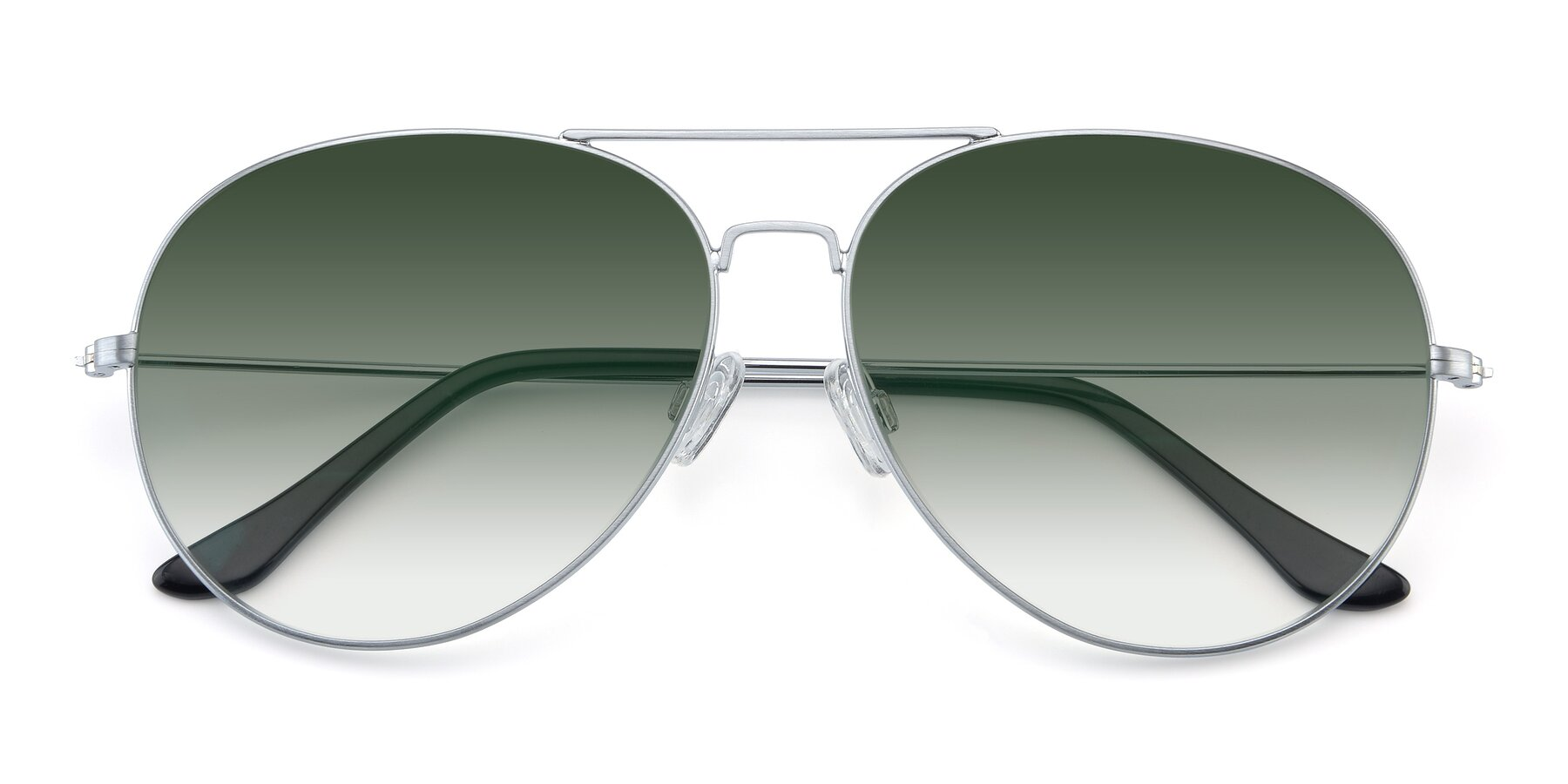 Folded Front of Paradise in Silver with Green Gradient Lenses