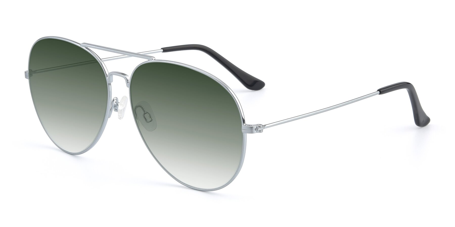 Angle of Paradise in Silver with Green Gradient Lenses