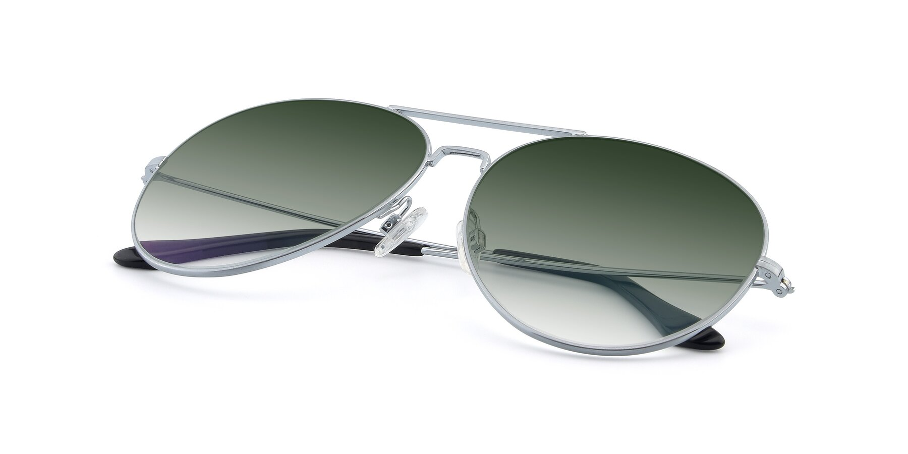 View of Paradise in Silver with Green Gradient Lenses
