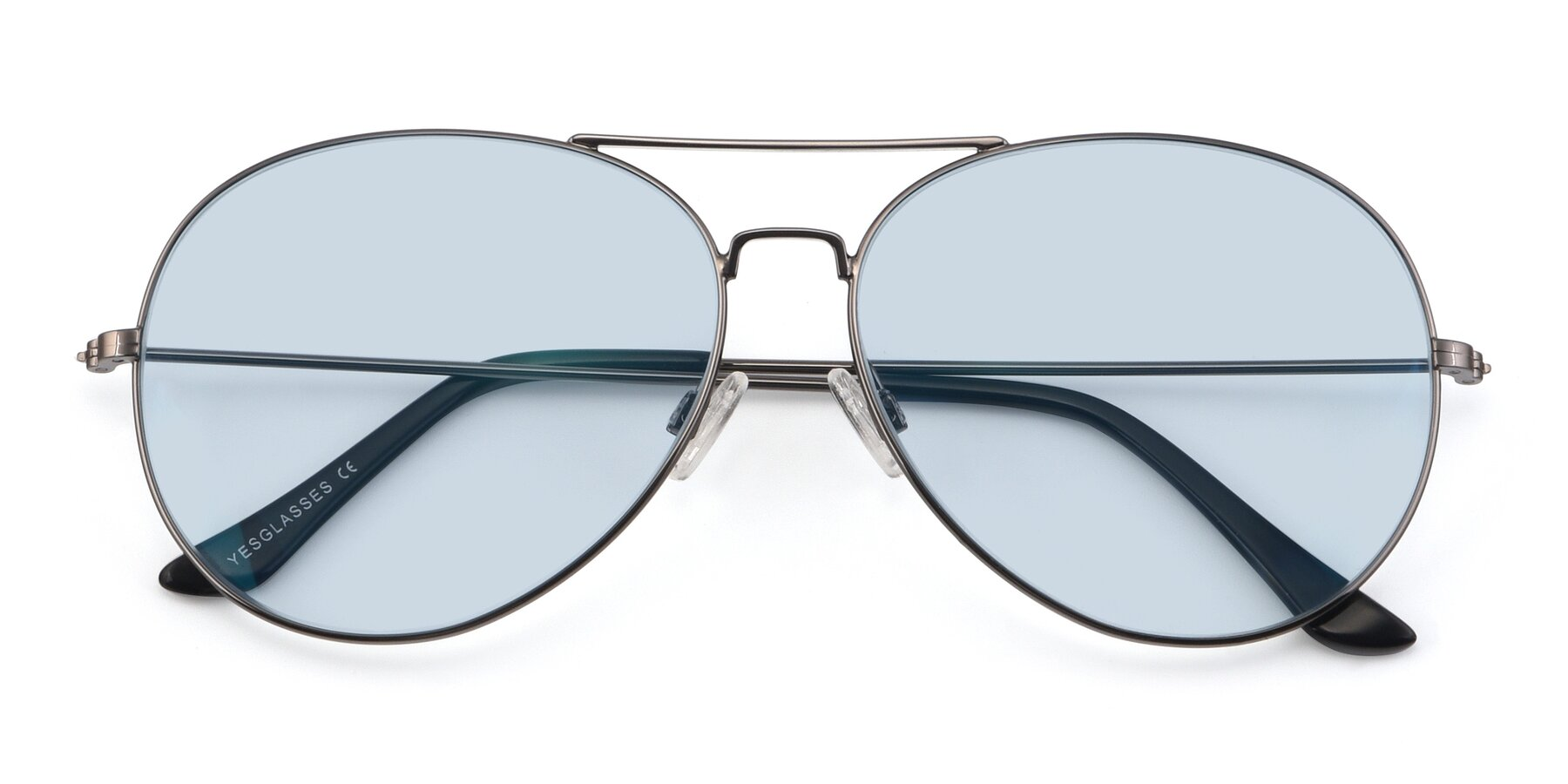 Folded Front of Paradise in Gunmetal with Light Blue Tinted Lenses