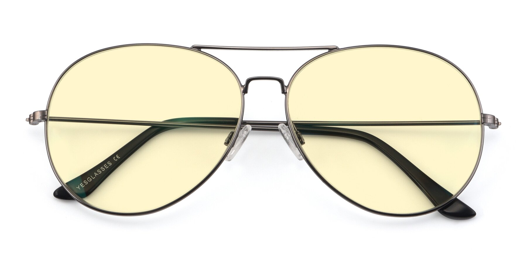 Folded Front of Paradise in Gunmetal with Light Yellow Tinted Lenses