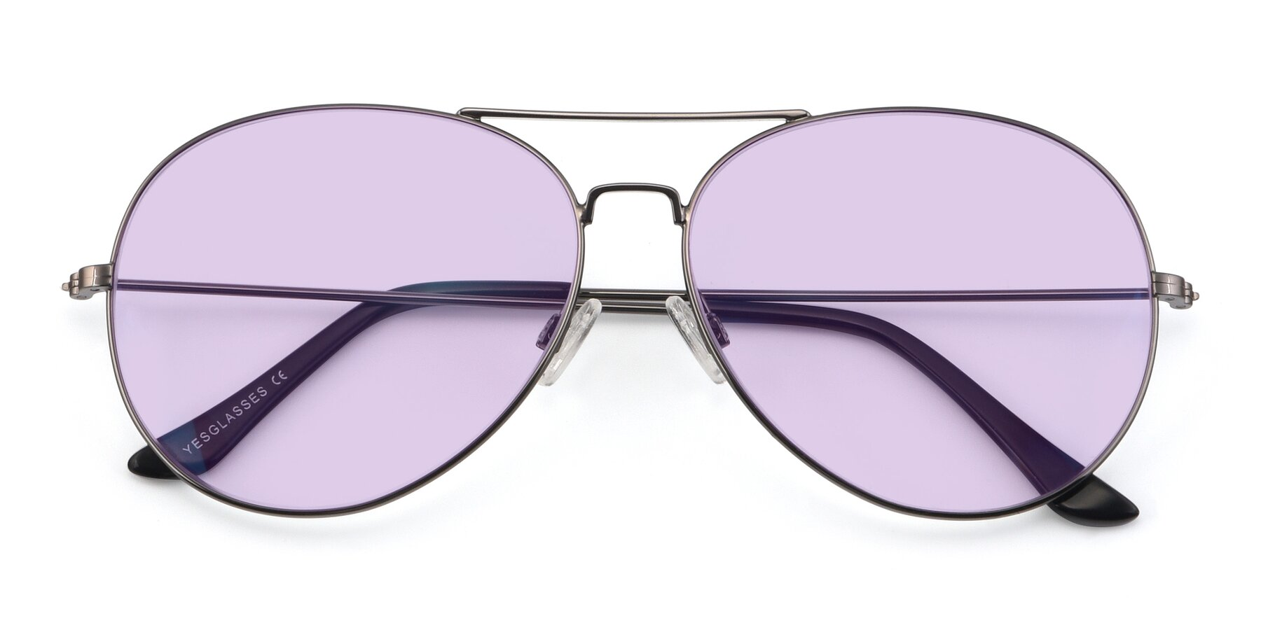Folded Front of Paradise in Gunmetal with Light Purple Tinted Lenses