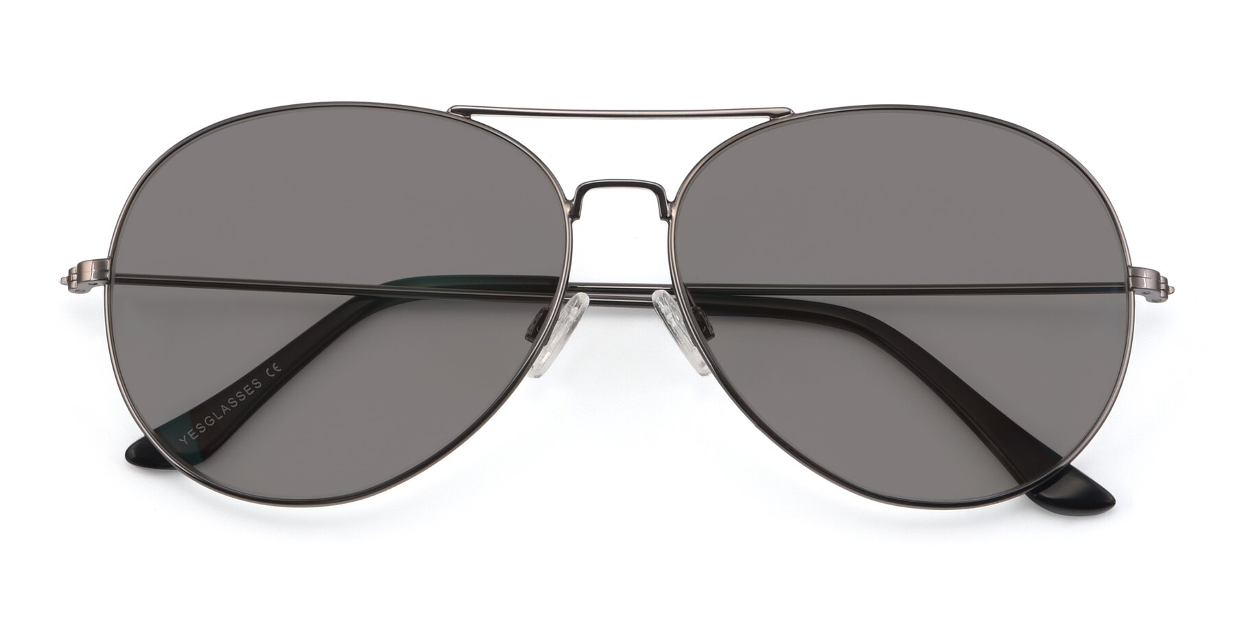 Folded Front of Paradise in Gunmetal with Medium Gray Tinted Lenses