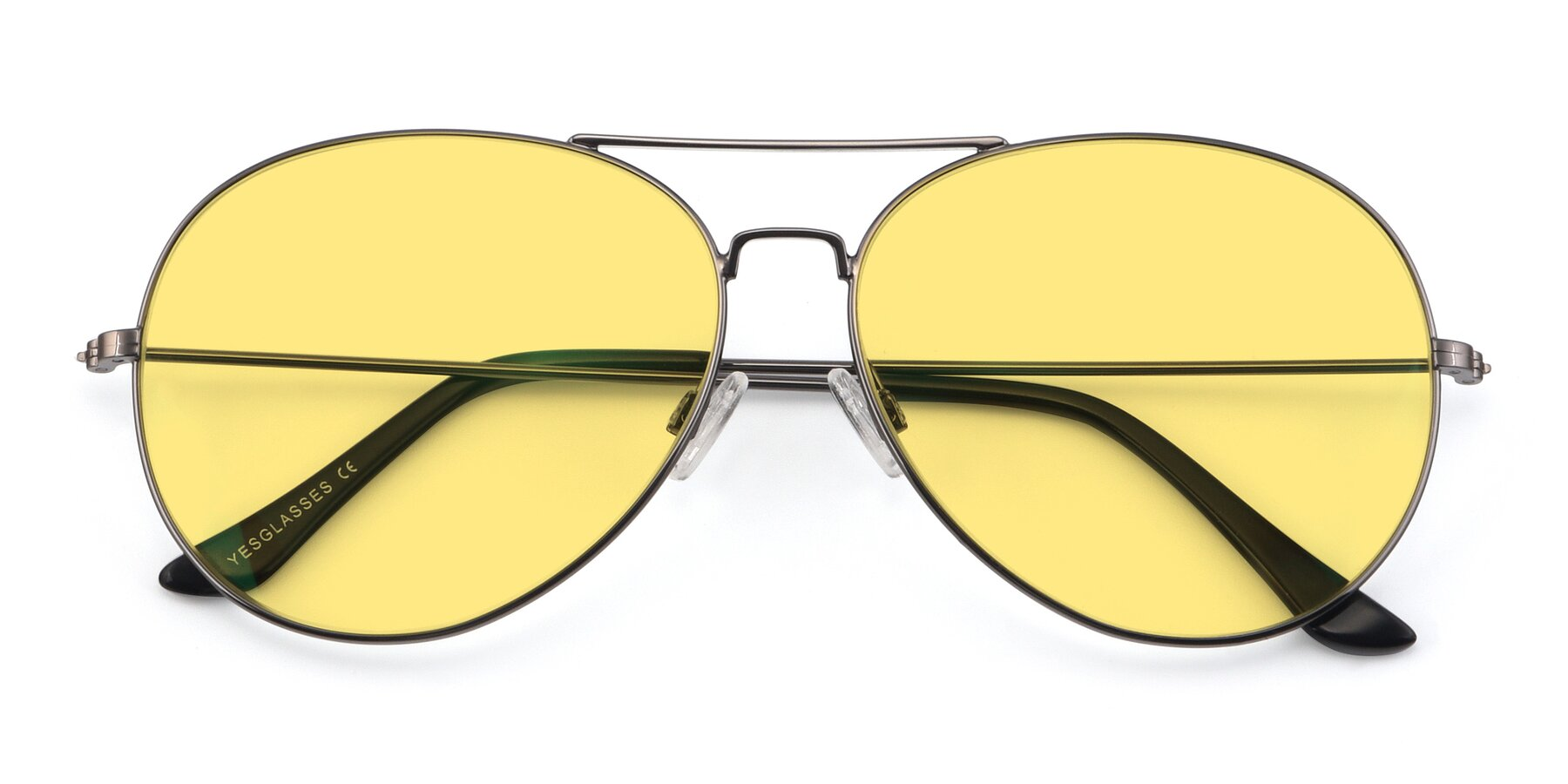 Folded Front of Paradise in Gunmetal with Medium Yellow Tinted Lenses