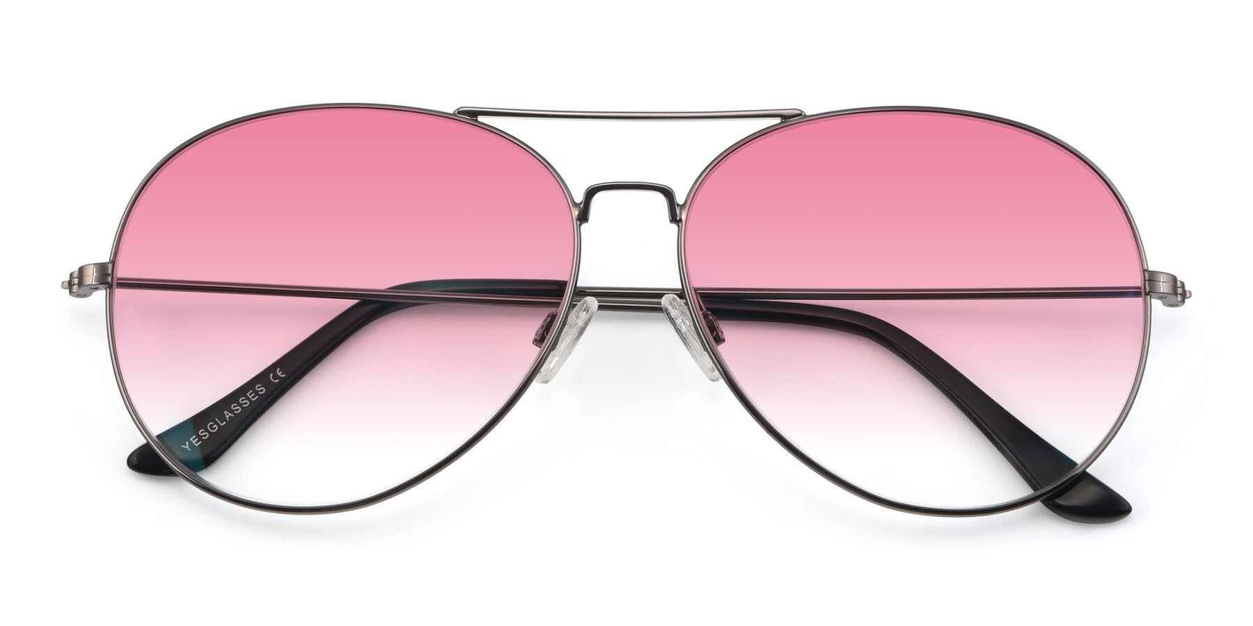 Folded Front of Paradise in Gunmetal with Pink Gradient Lenses