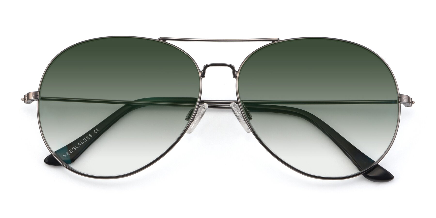 Folded Front of Paradise in Gunmetal with Green Gradient Lenses