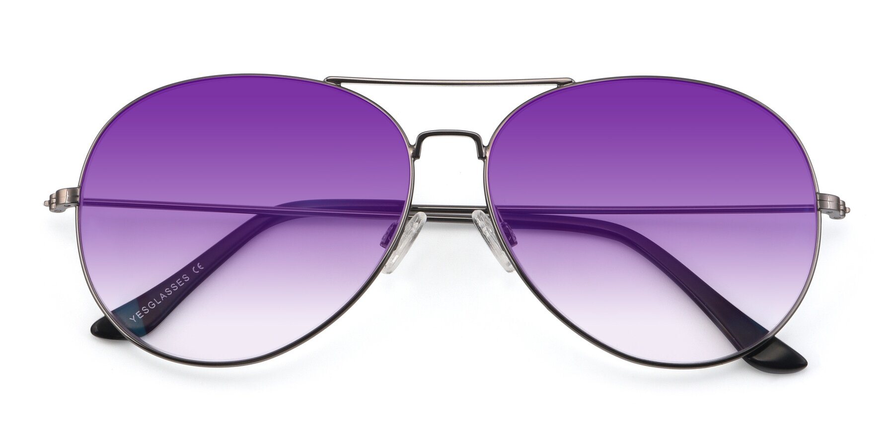 Folded Front of Paradise in Gunmetal with Purple Gradient Lenses