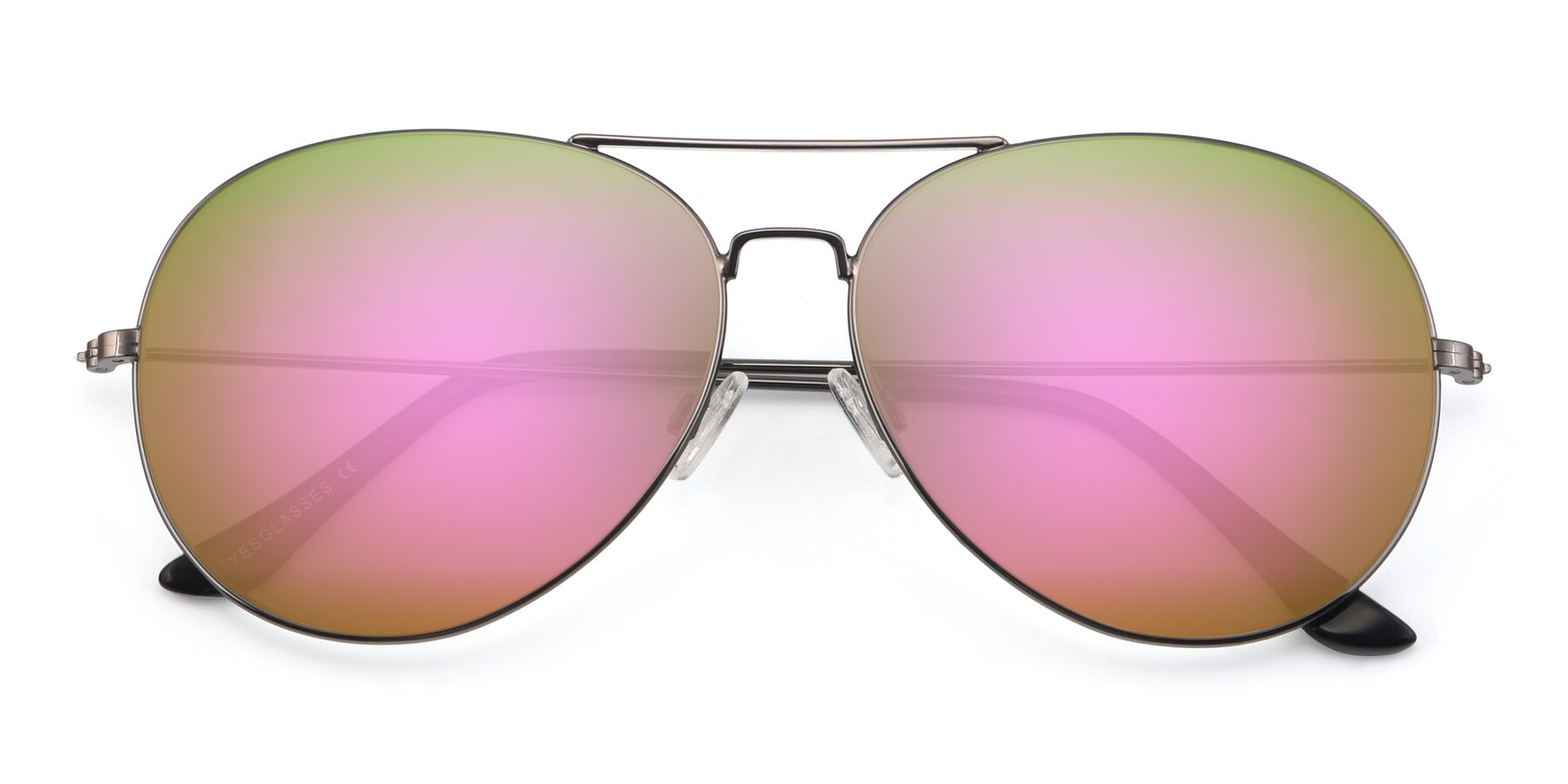 Folded Front of Paradise in Gunmetal with Pink Mirrored Lenses
