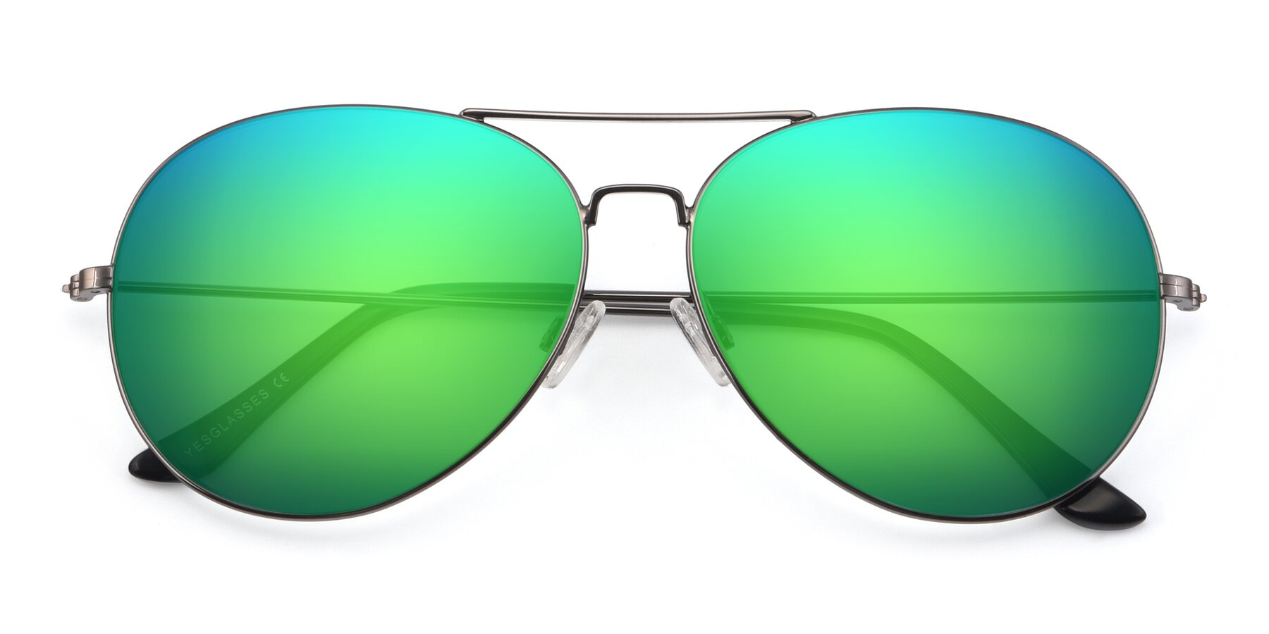 Folded Front of Paradise in Gunmetal with Green Mirrored Lenses