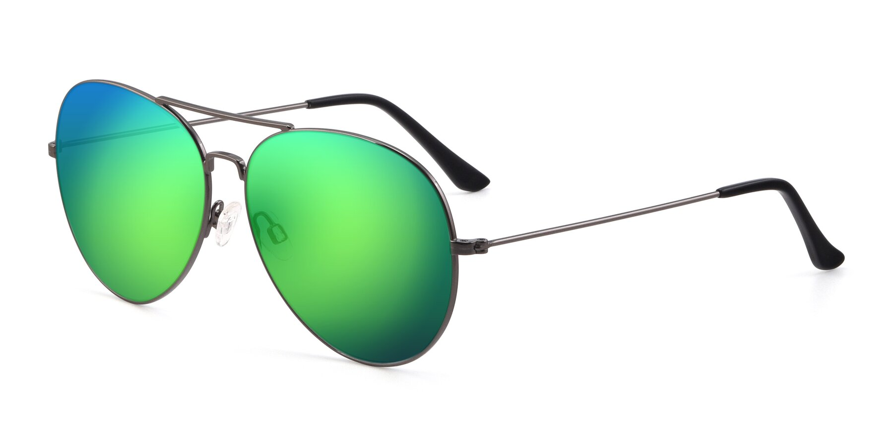 Angle of Paradise in Gunmetal with Green Mirrored Lenses