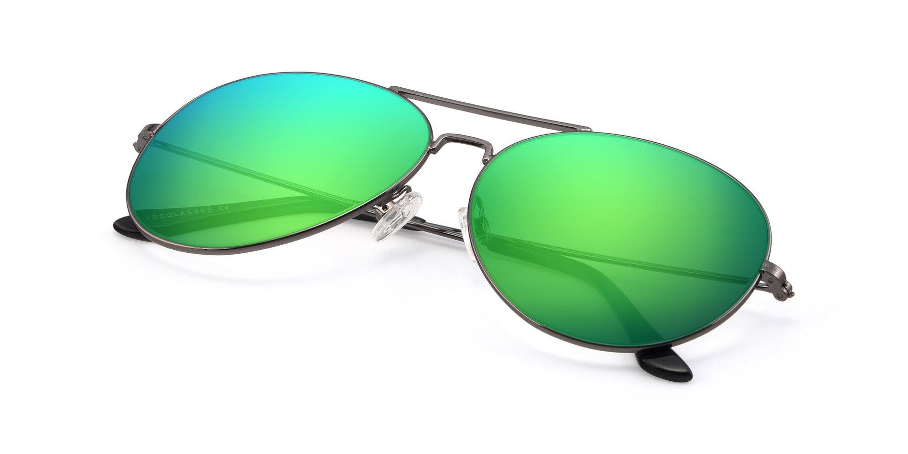 View of Paradise in Gunmetal with Green Mirrored Lenses