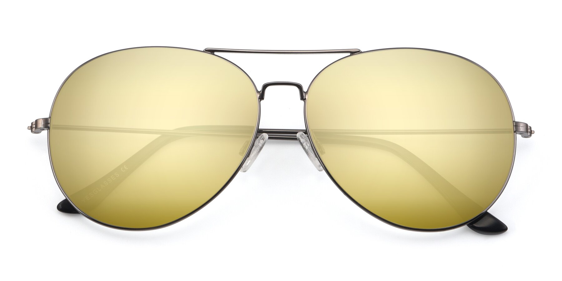 Folded Front of Paradise in Gunmetal with Gold Mirrored Lenses
