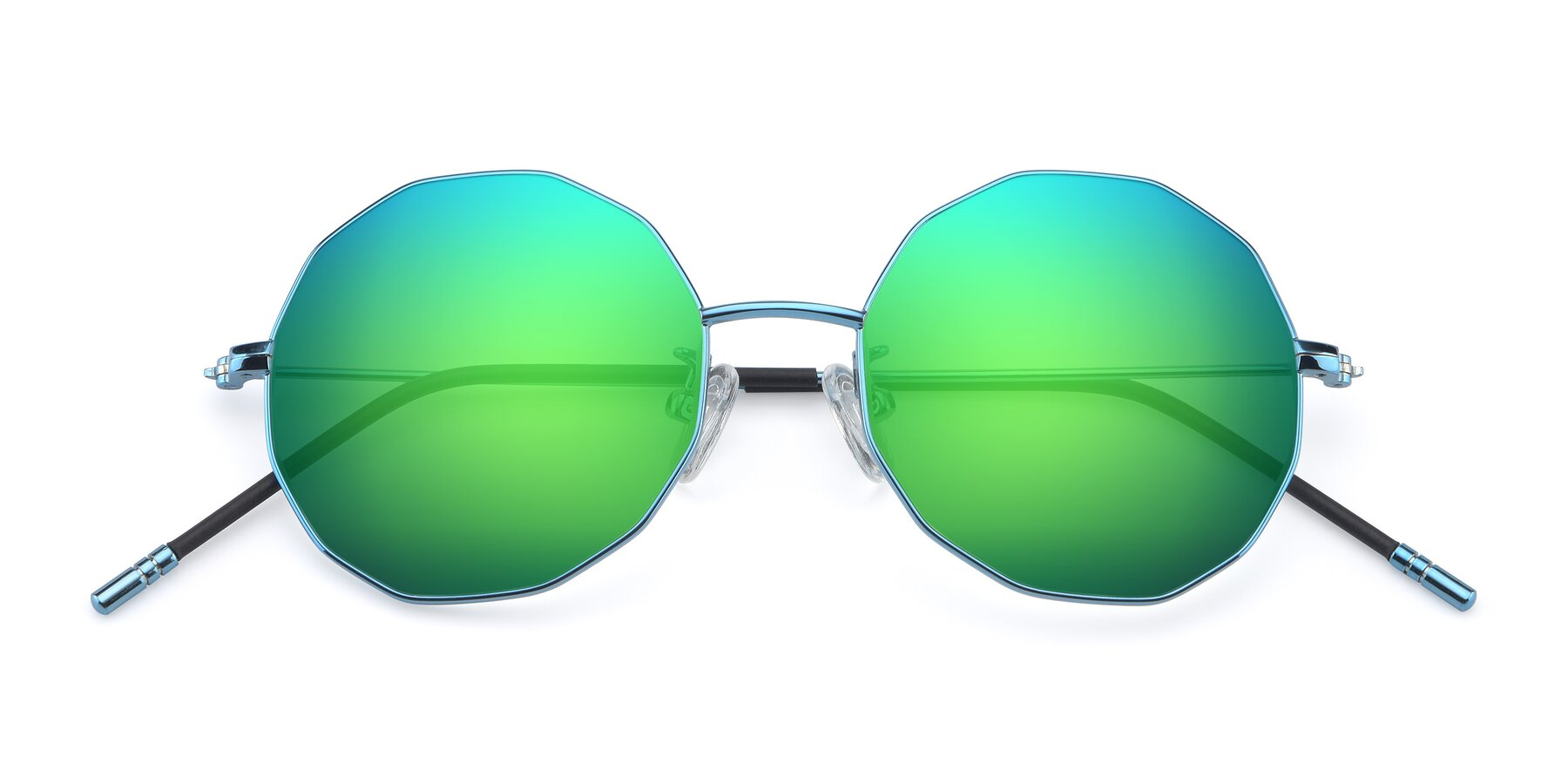 Folded Front of Dreamer in Blue with Green Mirrored Lenses