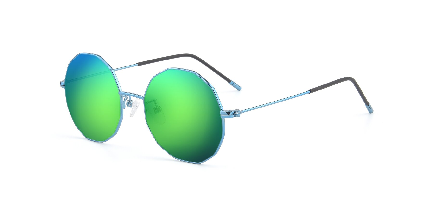 Angle of Dreamer in Blue with Green Mirrored Lenses
