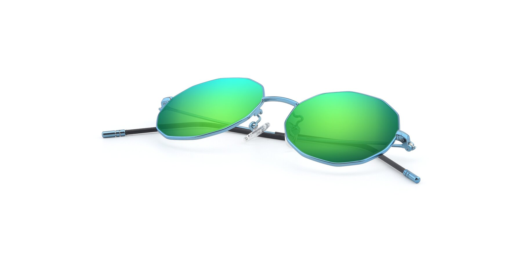 View of Dreamer in Blue with Green Mirrored Lenses