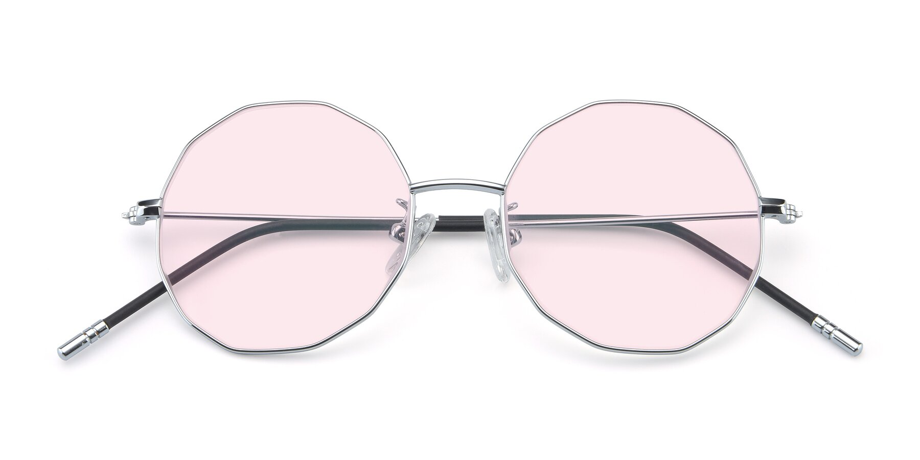 Folded Front of Dreamer in Silver with Light Pink Tinted Lenses