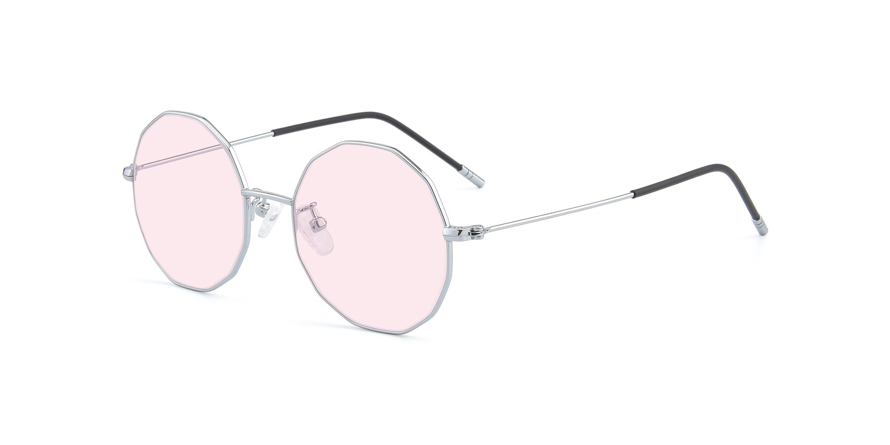 Angle of Dreamer in Silver with Light Pink Tinted Lenses