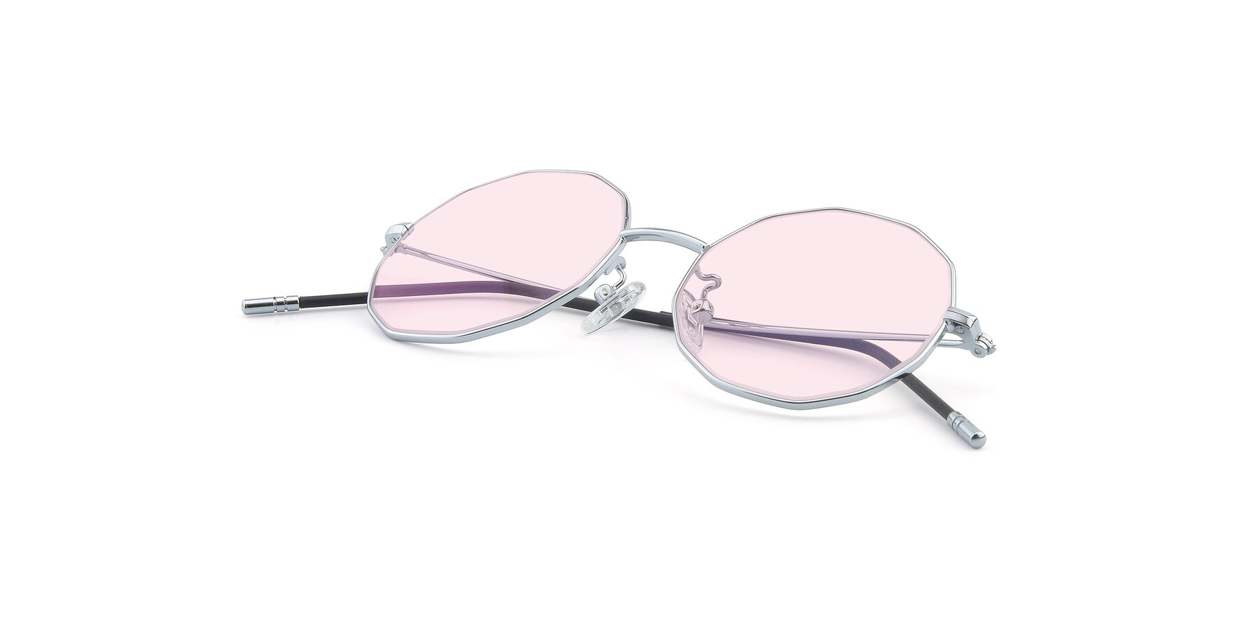 View of Dreamer in Silver with Light Pink Tinted Lenses